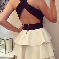 Black and White Criss Cross Back Layered Ruffle Dress