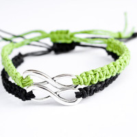 Infinity Couples Bracelets Lime Green and Black