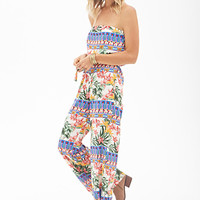 FOREVER 21 Tropical Floral Wide-Leg Jumpsuit Cream/Green