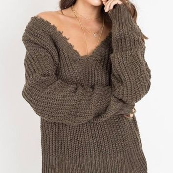 4SI3NNA - on the low distressed deep v sweater - olive