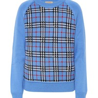 Checked wool jacquard sweater