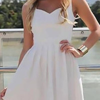 White Sleeveless Cut-Out Back Mini Skater Dress