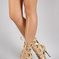 Metallic Cutout Lace Up Peep Toe Heel