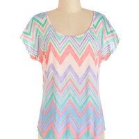 ModCloth Pastel Mid-length Short Sleeves Chevron and Poppin' Top