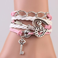 White and Pink Lock and Key Cupid's Arrow Chain Braided Rope Wrap Bracelet