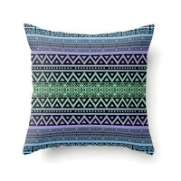 Throw Pillow Cover, tribal pillow, boho pillow, bohemian decor, hippie pillow, decorative pillow, blue pillow, green pillow, violet pillow