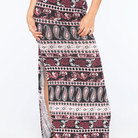 Full Tilt Mixed Print Maxi Skirt Burgundy  In Sizes
