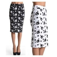 Skull Print Office High Waist Knee Length Straight Pencil Slim Skirt