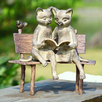 SPI Reading Cats on a Bench Aluminum Garden Sculpture