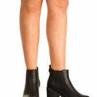 Bonnie Cleated Sole Block Heel Ankle Boots in Black