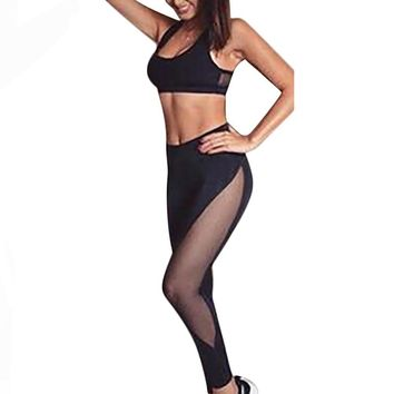 Mesh Patchwork Skinny High Waist Leggings Set