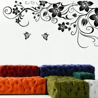 Modern House Wall-stickers Wall Decor Removable Decal Sticker - X Large Black Flowers and Butterflies