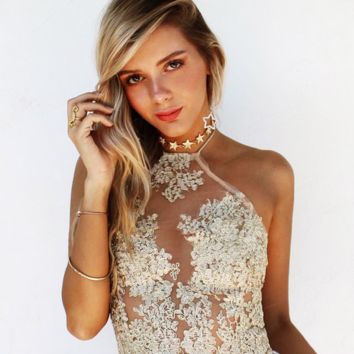 Sexy embroidered hollow out of bud silk condole top blouse
