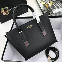 prada women leather shoulder bags satchel tote bag handbag shopping leather tote crossbody 237
