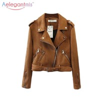Trendy Aelegantmis 2017 Autumn Cool Faux Suede Jacket Women Brown Short Basic Coat Long Sleeve Turn-down Collar Fall Jackets Casual New AT_94_13
