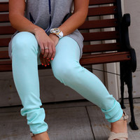Acid Wash Mint Skinny {Miss Me}