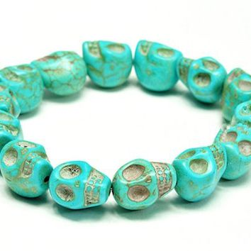 Turquoise blue Color skull stretch bracelet, Halloween/birthday Gift...friendship, love and cute bra