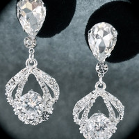 Bridal Jewelry  Rhinestone earrings  Brides by QueenMeJewelryLLC