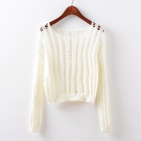 Long Sleeve Knit Round-neck Hollow Out Stylish Pullover Tops [9101519559]
