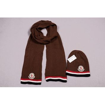 Moncler Men's and women's fashion accessories winter warm scarf cover hat two-piece