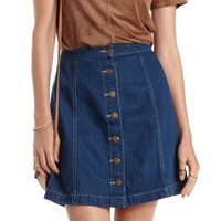 Chambray A-Line Button-Up Denim Skirt by Charlotte Russe