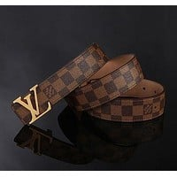 Louis Vuitton Woman Men Fashion Smooth Buckle Belt Leather Belt Skin Belts