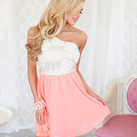 Exquisite One Shoulder Dress Neon Coral