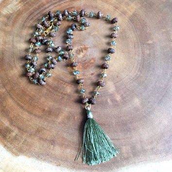 Tassel Necklace, Olive and Brown Necklace, Beaded Necklace, Tassel Jewelry, Fall Necklace, 31 Inch Necklace, Long Necklace