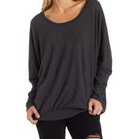 Charcoal Brushed Fleece Dolman Pullover by Charlotte Russe