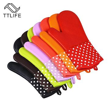 TTLIFE 1PC Cake Bakeware Heat Resistant Silicone Oven Glove Cooking Baking BBQ Oven Pot Holder Mitt Cooking Tools