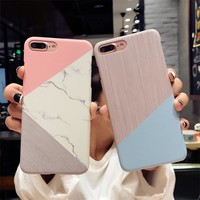 MR.YI Marble Wood Phone Case For iPhone 6 6s 7 8 Plus Ultra Thin Hard PC Cover For iPhone 7 8 X 5 5s SE Case Luxury Patterned