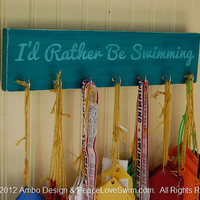I'd Rather Be Swimming Ribbon Hanging Display  -  Distressed Wood Wall Rack - Teal
