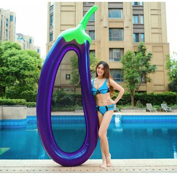 Inflatable eggplant Lounge chair Flamingo Swimming Float Pool Float Swan for Adult Tube Raft Kid Swimming Ring Summer Water Toy