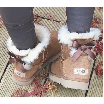 """UGG"" Winter Trending Women Stylish Cute A Bowknot Wool Snow Boots Brown I/A"