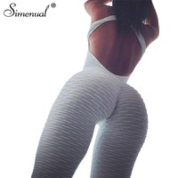 Simenual Bodybuilding sportswear long jumpsuit body for women backless push up fitness overalls rompers bandage white jumpsuits