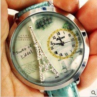 Leather Eiffel Tower Watch by forevervintage on Zibbet