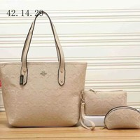 COACH Women Leather Shoulder Bag Handbag Tote Clutch Bag Cosmetic Bag Set Three-Piece-4