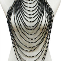 """16"""" gold pearl choker necklace 1.75"""" earrings collar body chain armor vest"""