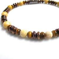 Magnetic Hematite Bracelet With Tiger's Eye and Aragonite