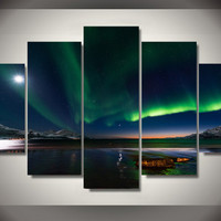 Northern Lights Over Water 5-Piece Wall Art Canvas