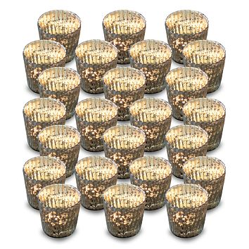 24 Pack | Vintage Mercury Glass Candle Holders (3-Inch, Caroline Design, Vertical Motif, Silver) - For use with Tea Lights - Home Decor, Parties and Wedding Decorations
