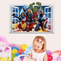 3D Fake Window Avengers Wall Stickers for Kids Room Home Decoration Mural Art Nursery Pvc Decals