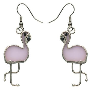 Stained Glass Flamingo Earrings