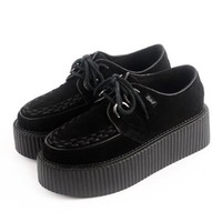 RoseG Women's Handmade Suede Lace Up Flats Platform Creepers Sneakers Shoes Black Size8