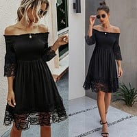 2020 new women's sexy one-shoulder open back solid color lace dress