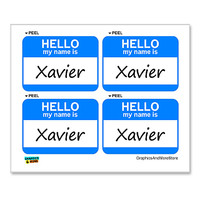 Xavier Hello My Name Is - Sheet of 4 Stickers