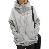 Allegra K Women Winter Full Zip Hoodie Varsity Hoody Hooded Coat, Light Grey,Medium / US 10
