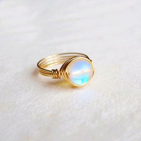 Aurora Borealis Ring - unique rings - wire wrapped ring - bohemian jewelry