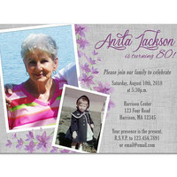 Purple 80th Birthday Invitation Woman - Photo Adult Birthday Invitations Female - Purple Flowers Lady Surprise Birthday - 70th 90th 100th