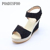 Women Summer Shoes New Sweet Flowers Buckle Open Toe Wedge Sandals Floral high-heeled Shoes